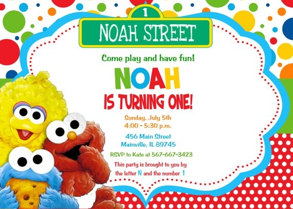 Baby Elmo Sesame Street First Birthday Invitation Digital