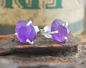 Studs, Silver Stud Earrings, Boho Earrings, Simple Earrings, Amethyst Earrings, Gemstone Earrings, Birthstone Earring, February Birthstone