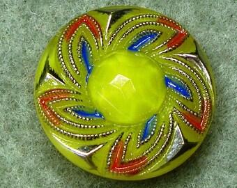 "Czech Glass Button 10""= 23mm - hand painted - blossom, yellow, blue, orange, silver (B23170)"