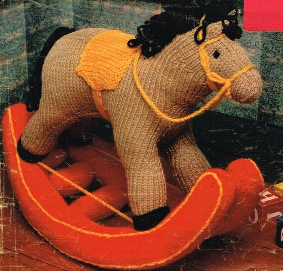 Knitting Pattern Toy Horse : Rocking Horse toy knitting pattern. Vintage copy. PDF Instant