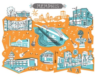 Wall Art-Memphis Tennessee-Art Print-3 Color-City Illustrations-10x8-Turquoise-Orange-Grey