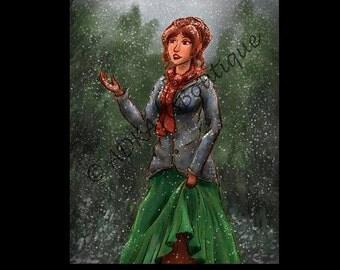 Digital Art Painting Winter The First Snowfall