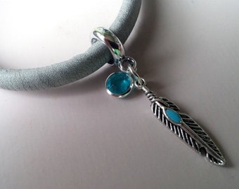 Supernatural inspired charm bracelet - metallic silver leather bracelet with feather and blue glass charms