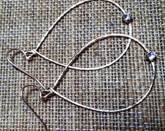 Teardrop Gold Earrings with Swarovski (large)