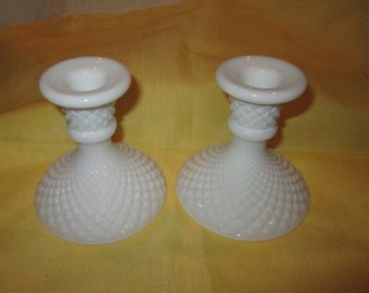 Vintage White Milk Glass English Hobnail Candlestick Holders by Westmoreland