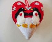 Penguin Ornament / Felt Heart Ornament / Doorknob Hanger / Doorknob Pillow / Winter Decor / Penguin Decoration / Romantic Christmas / Arctic