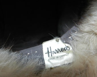SPECIAL PRICE-Vintage Fur and Suede Hat-Harrods Vintage Hat-Vintage Women Accessory - Made in Canada -Size Extra Small-Small