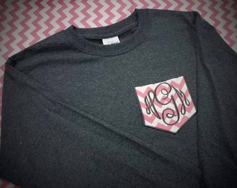 Adult Long Sleeve Monogrammed Pocket Tee