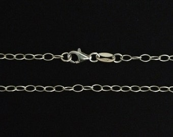 """925 Sterling Silver long necklaces chain cable - finished necklace chain your choice of length from 32"""" to 36 """" inches quality made in Italy"""