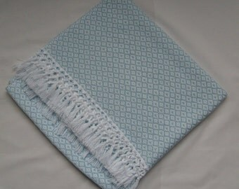 Made to Order, Hand Woven Baby Blanket, Baby Shower Gift, Blue Cotton Blanket, Crib Blanket, New Baby