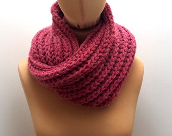 Chunky Raspberry Red Snood, Hand Knitted Infinity Scarf for Men and Women.