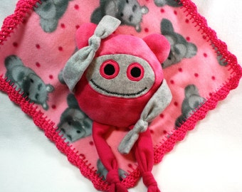 Pink Hippo Print Blanket And Pillow,   #M-6
