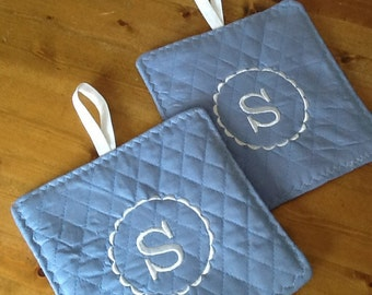Set of Two  Handmade Quilted Embroidered Initial Pot Holders