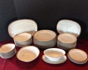 46 Piece Set Mt. Hira Imperator Fine China, Place Settings Plus Serving Pieces, White and Gold, Wedding China