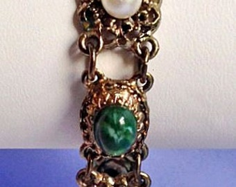 Multi Colored Cabochon & Pearl on Antiqued Gold Linked Bracelet