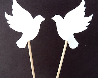 24 White Dove Wedding Toothpick Cupcake Toppers, Food Picks, Theme Party Picks