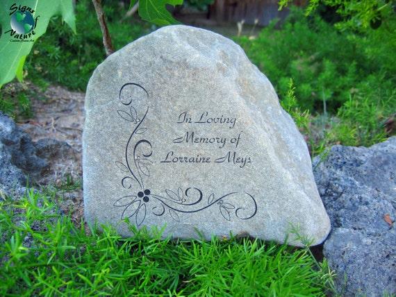 Memorial garden stone 7in 9in custom hand engraved memory for Garden memorials for loved ones