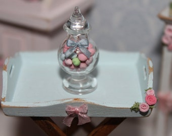 Glass jar filled with shabby candies  for dollhouses