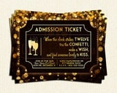 Admission Ticket Black & Gold Printable New Years Eve Party Invitation, Digital New Years Party Invite, NYE Party, Print At Home