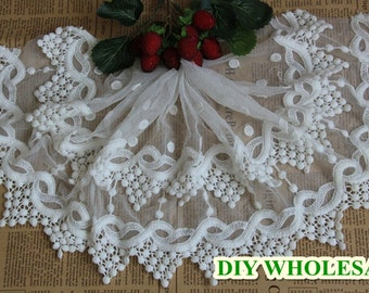 Lace trim Embroideried Tulle Gauze Lace fabric Exquisite Lace fabric 1 yard