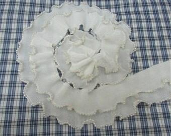 2 Row White Lace Chiffon Fold Beaded Strech Lace Trim 7cm  Wide 1 Yard