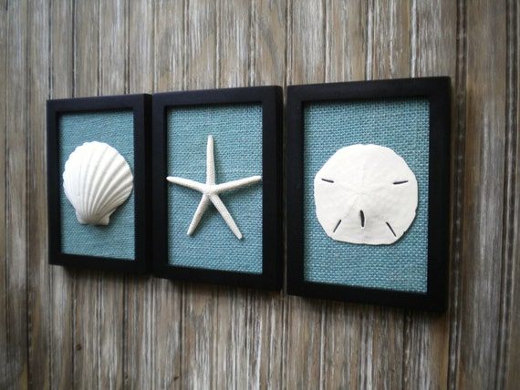 Cottage Bathroom Wall Decor : Items similar to cottage chic set of beach wall art