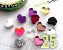 Mini Hearts for lockets - 25 pcs, random colors, USA seller, floating charm, Origami Owl, jewelry bar