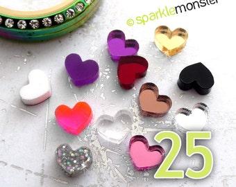 Mini Hearts for lockets - 25 pcs, random colors, USA seller, floating charm, Origami Owl, jewelry bar