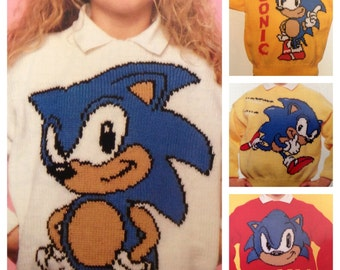 Sonic the Hedgehog knitting pattern sweaters for children and adults intasia charts vintage character knitting