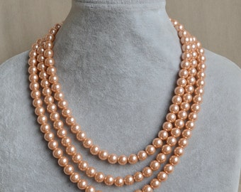 peach pearl Necklace,Triple Pearl Necklace,Wedding Necklace,bridesmaid necklace,Jewelry,Glass Pearl Necklace