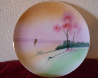 Japan Vintage Plates-Meito China Hand Painted Plates, made in Japan-2 Vintage Plates