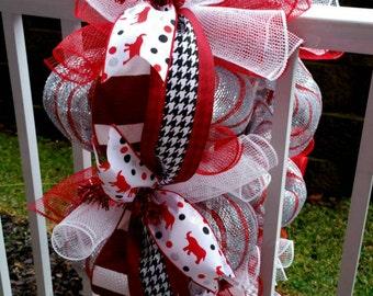 Alabama Crimson Tide Deco Mesh Mailbox Wreath / Roll Tide Mailbox Swag / Mailbox Topper