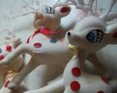 Vintage Set of 3 Flocked Reindeer Christmas Ornaments