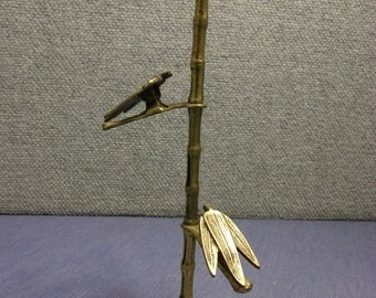 Brass bamboo, leaf clamps, office accesory, desk accesory, paper holder, home decor, rotating leaves, made in Japan.