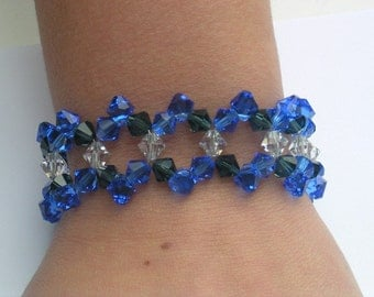 Blue Tone Crystal Beaded Bracelet made with Swarovski Crystal Elements