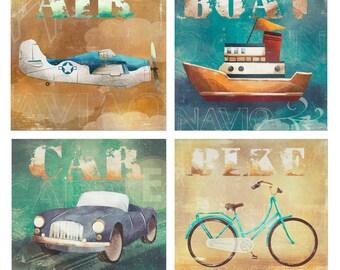 TRANPORTATION Baby Boy Nursery Wall Art Green  Blue boat ,car,plain Little Boys Room Decor  Print 4 PRINT SET
