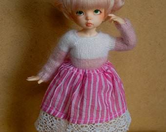 YoSD BJD Skirt (Pink Stripe)