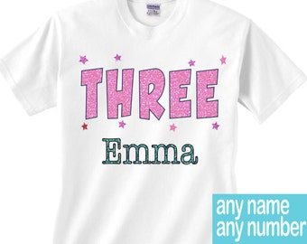 Three birthday shirt boy or girl | three shirt | three year old birthday shirt | your three year old's name shirt | three birthday outfit