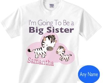 Big sister zebra shirt - I'm going to be a big sister