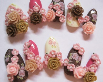 "3D deco nails- ""Rose Neapolitan"""