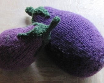 TWO Knit Eggplants Aubergines