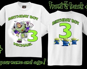 Toy Story Buzz Lightyear Birthday Front and Back T Shirt - Personalized Custom -