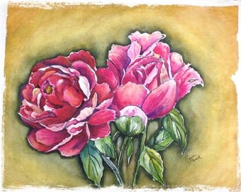 "This is a print of my original watercolor painting titled """"Pink Peonies"".  in 5 x 7, 8 x 10, 11x 14, 16 x20.wrapped canvas, note cards"