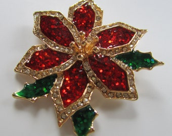 TC Vintage Enamel and Rhinestone Sparkly Poinsettia Brooch Pin