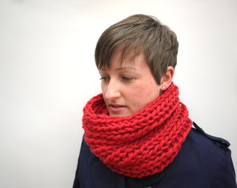 Cowl Scarf - Red chunky knit merino wool cowl scarf