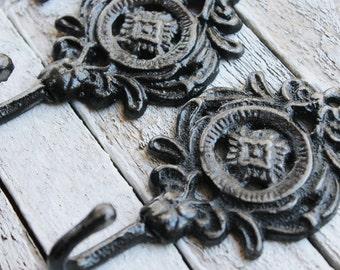 Rustic Ebony Black Wall Hooks- Bathroom Accessories-Jet Black-Kitchen Hooks-Distressed Metal-Shabby Chic Iron-Hand Painted -Autumn Fall Home
