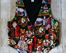 Tacky Christmas Vest with Holiday Icons and Ephemera Festive Holiday Vest for Ugly Christmas Sweater Party Adjustable Fit Waistcoat L Large
