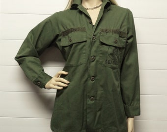 1980's US Navy Seabees olive-drab green long sleeve shirt  Zermeno Chest size 40