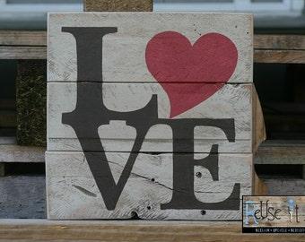 "Wood Pallet Sign, LOVE,  Rustic Pallet Art  10"" x 10"""
