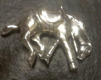 Vintage Large Sterling Silver Bronco Horse Brooch